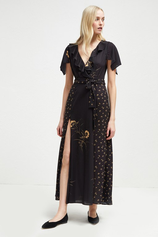 mahi crepe belted maxi dress