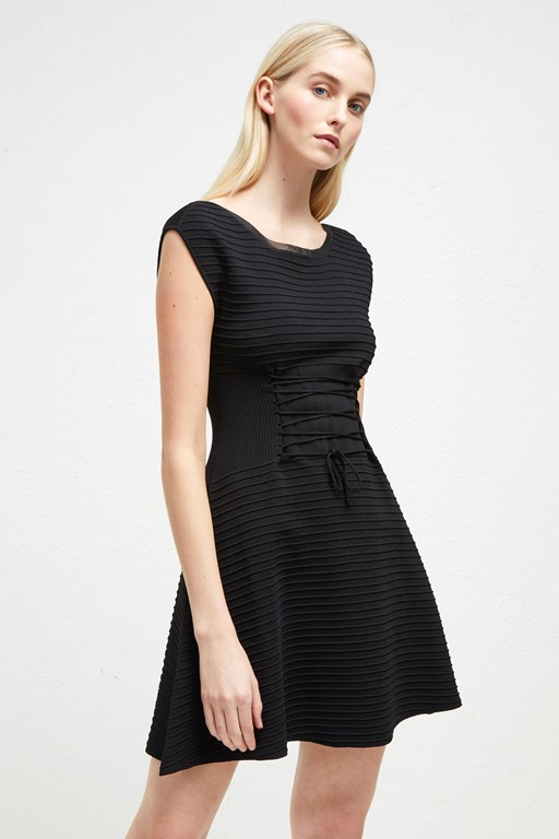 katie crepe knit lace up dress