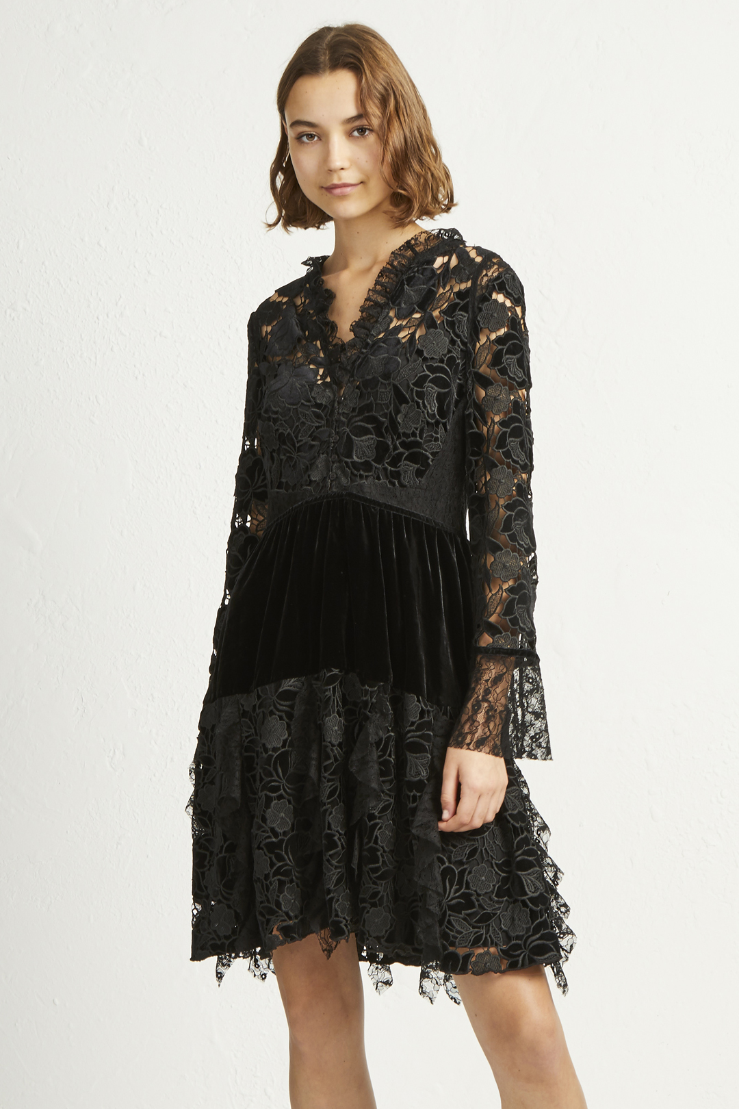 e15b7671 Cynthia Velvet Lace Mix Dress | Collections | French Connection