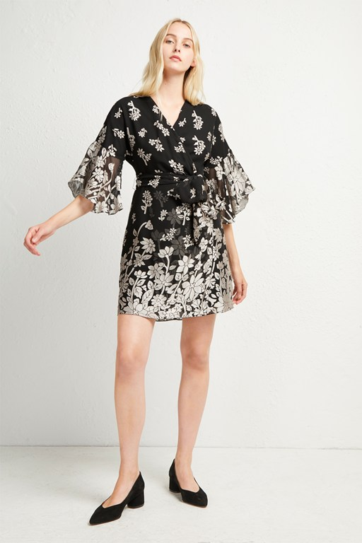 elsie satin devore wrap dress
