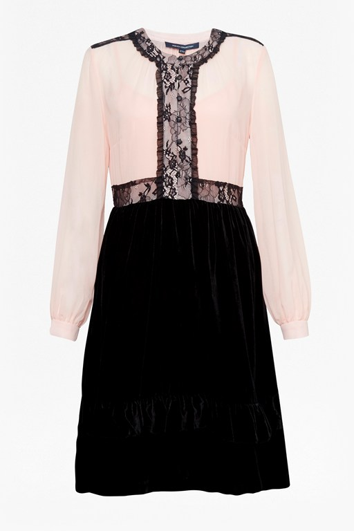 ednae velvet lace mix dress