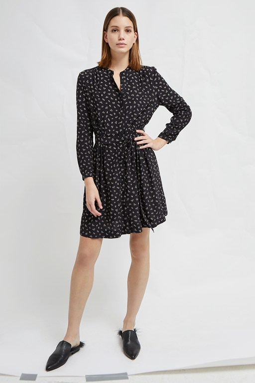 elsie micro ditsy drape belted shirt dress