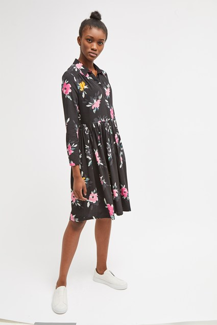 Edith Drape Floral Shirt Dress