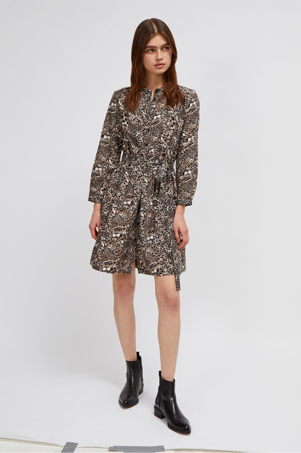 2f078dfe15b Animal Print Belted Shirt Dress. loading images.
