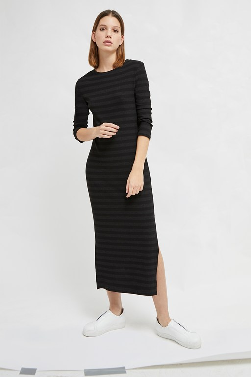 rochelle jersey stripe midi dress
