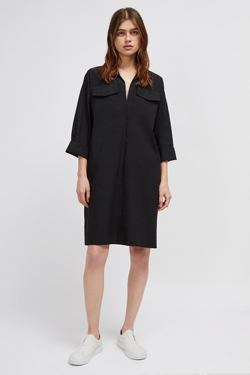 briella cotton belted shirt dress
