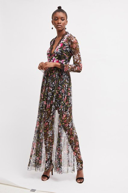 Flori Embroidered Floral Maxi Dress