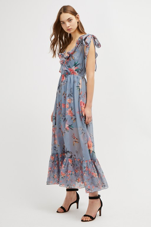 cecile sheer v neck maxi dress