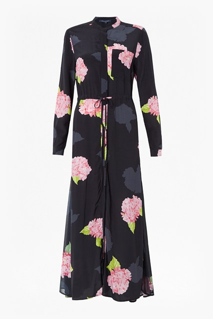 Eleonore Drape Floral Midi Shirt Dress
