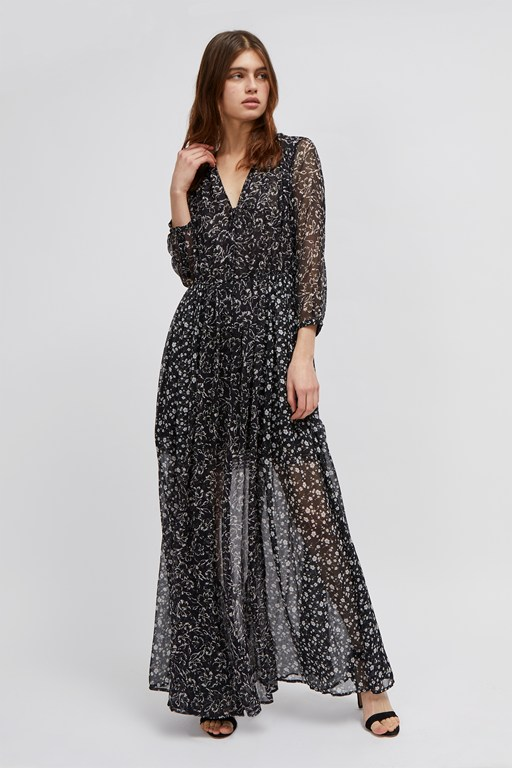 ameliea crinkle maxi shirt dress