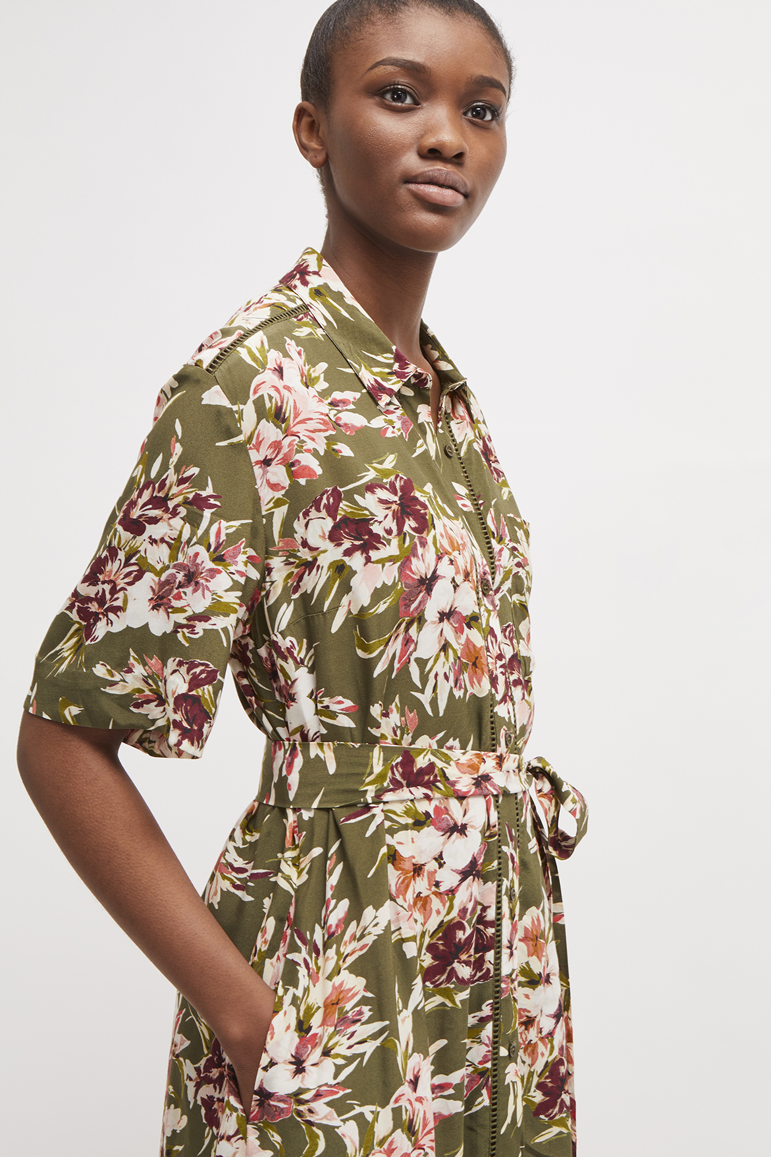 8c7530d58 Floriana Drape Midi Shirt Dress | Collections | French Connection