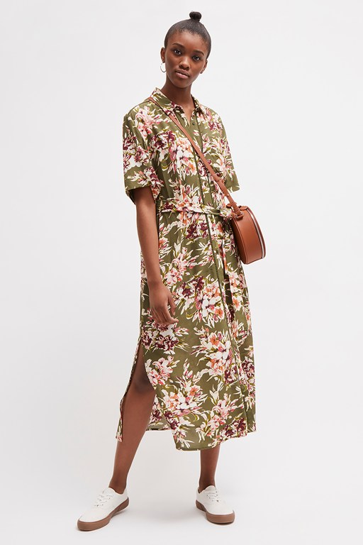 floriana drape midi shirt dress