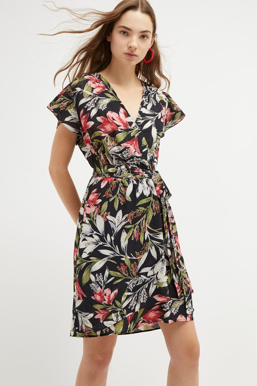 floreta shadow floral wrap dress