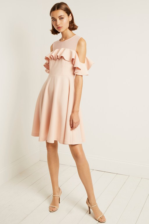 alissia flare cold shoulder dress
