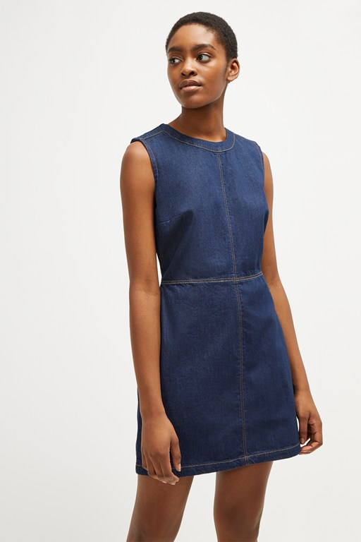 linaire contrast stitch pinafore dress
