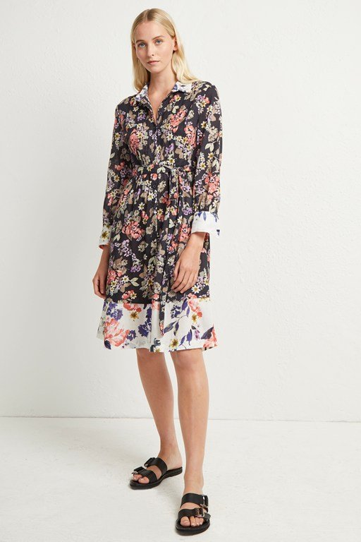 acena voile floral shirt dress