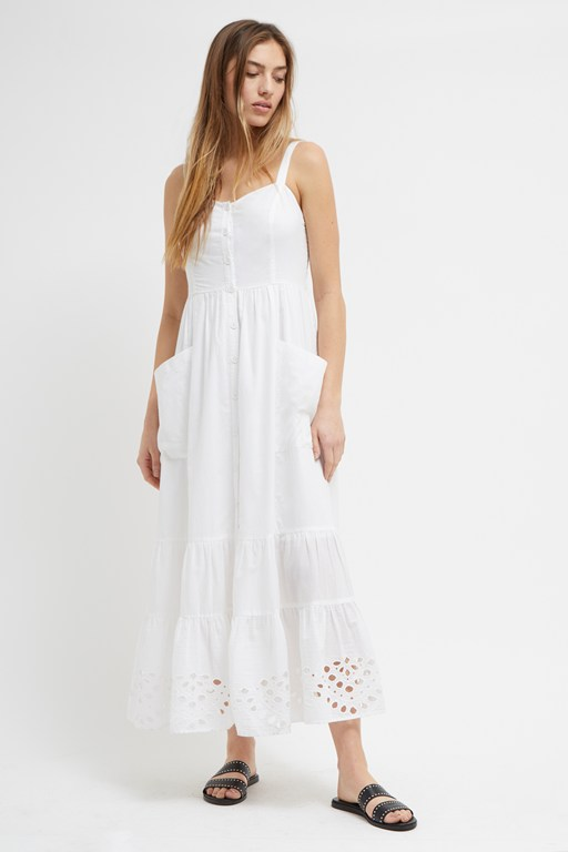 ancole broderie strappy midi dress
