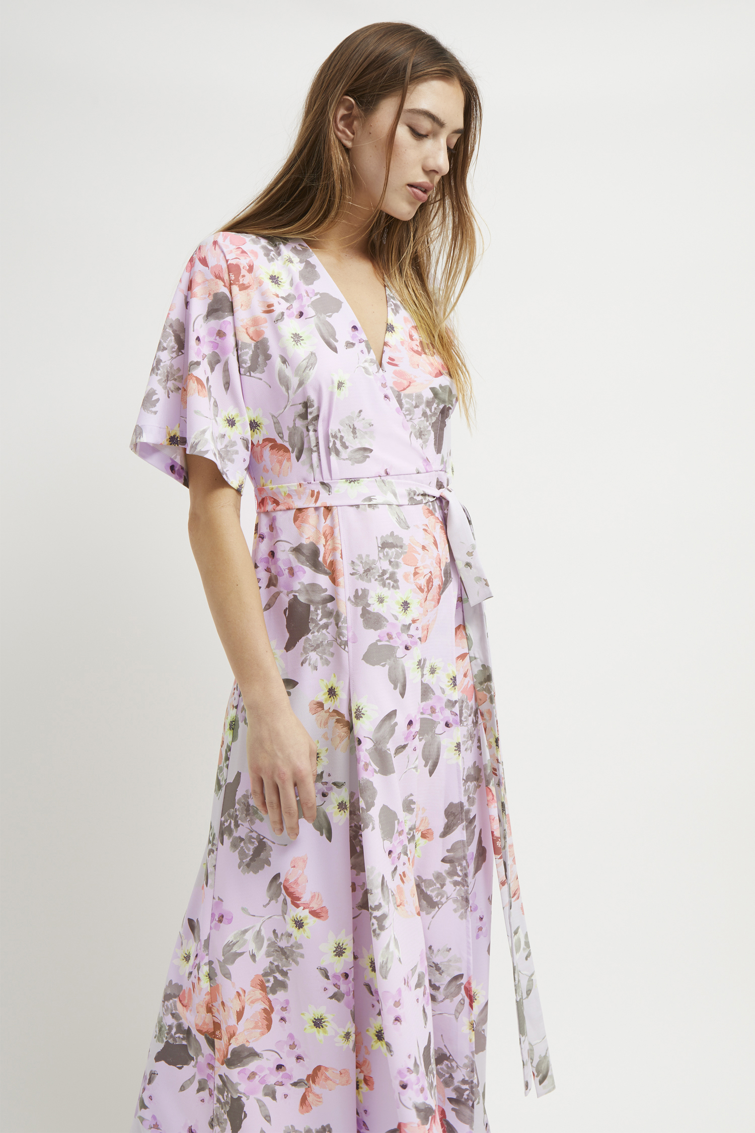 6672cf171a Armoise Crepe Floral Maxi Wrap Dress