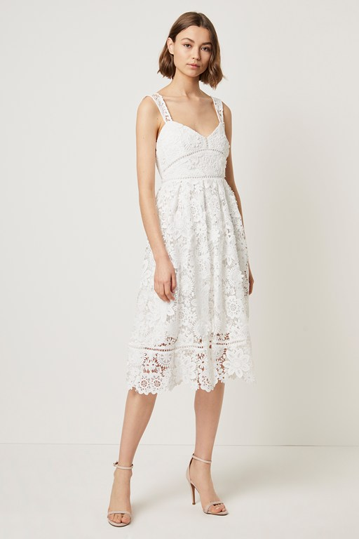 alicia lace strappy midi dress