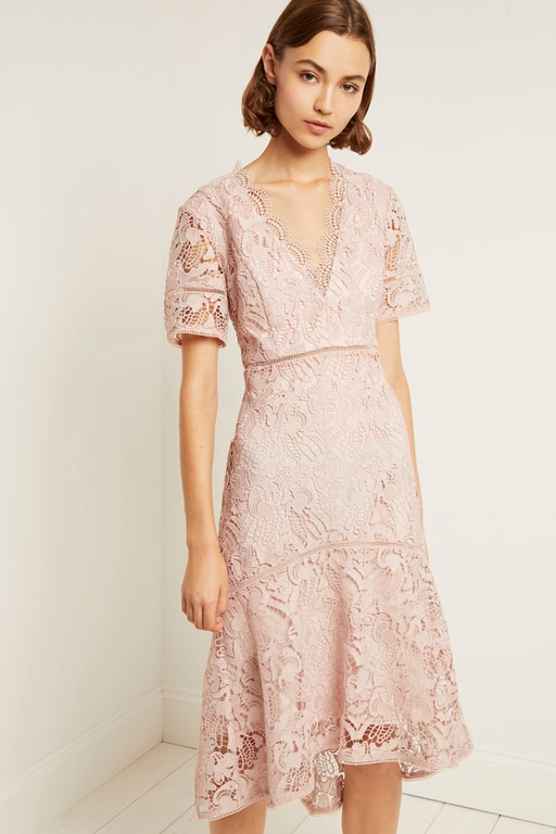 calli lace v neck dress