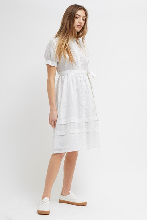 alyme ramie floral jacquard shirt dress