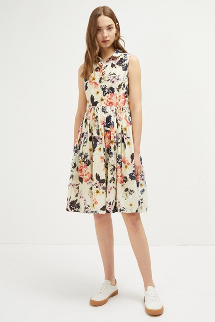 Acena Voile Sleeveless Shirt Dress