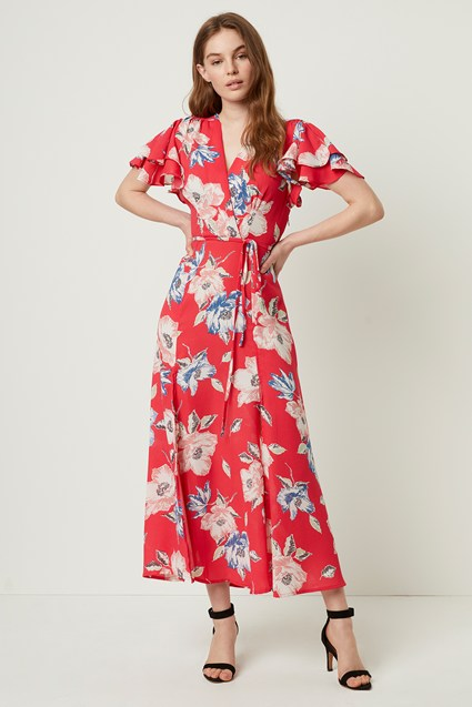 Cari Crepe Floral Midi Tea Dress