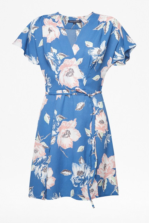 cari crepe floral wrap dress