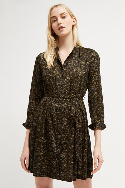 Animal Collarless Shirt Dress