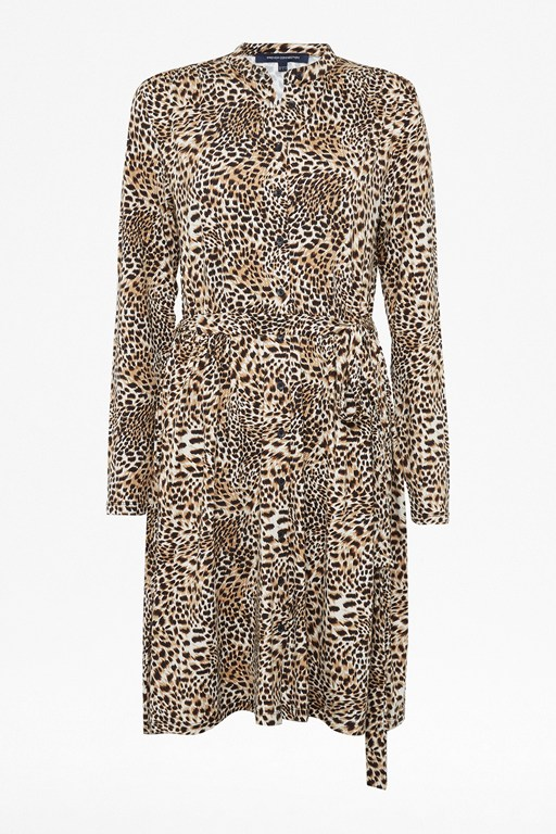 leopard jersey shirt dress