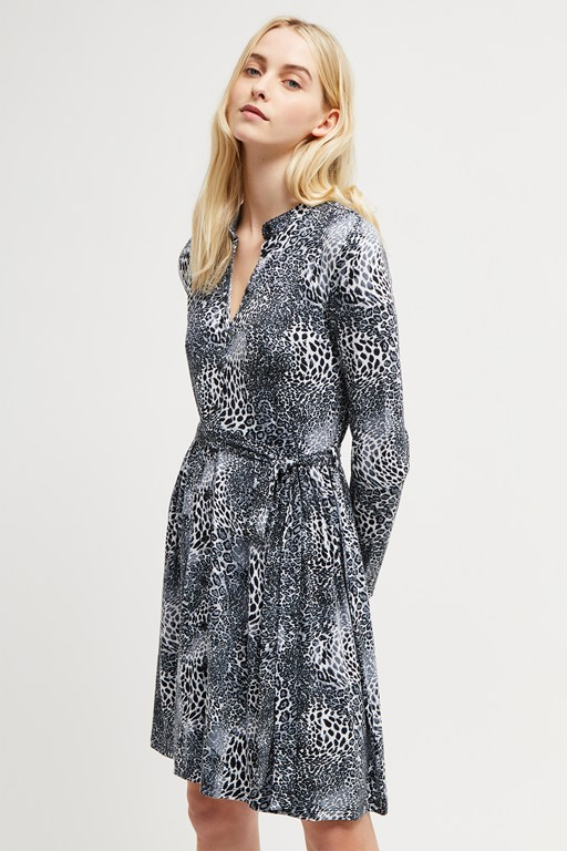 grey leopard jersey shirt dress
