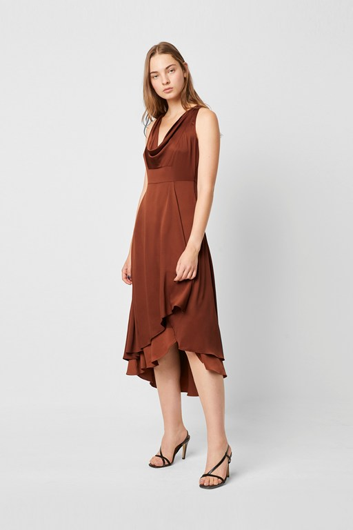 alessia satin cowl neck dress