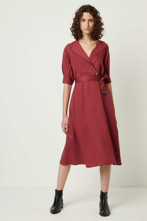 clarita drape belted shirt dress