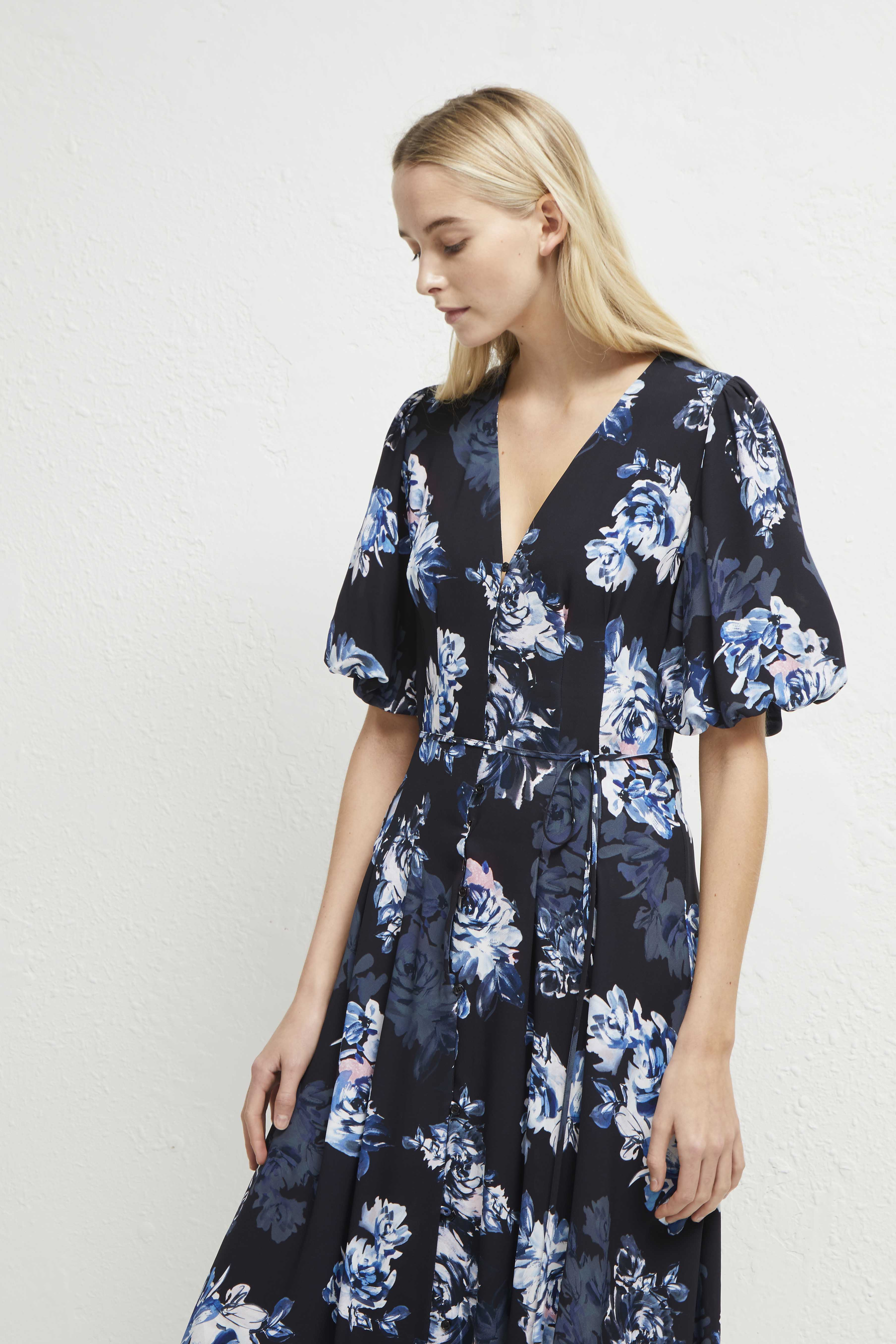 FRENCH CONNECTION CATERINA CREPE BUTTON DOWN FLORAL MIDI DRESS SIZE UK 10