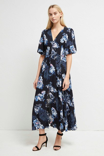 Caterina Crepe Button Down Floral Midi Dress