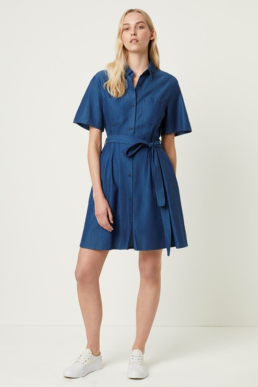 leila ixie lyocell button shirt dress