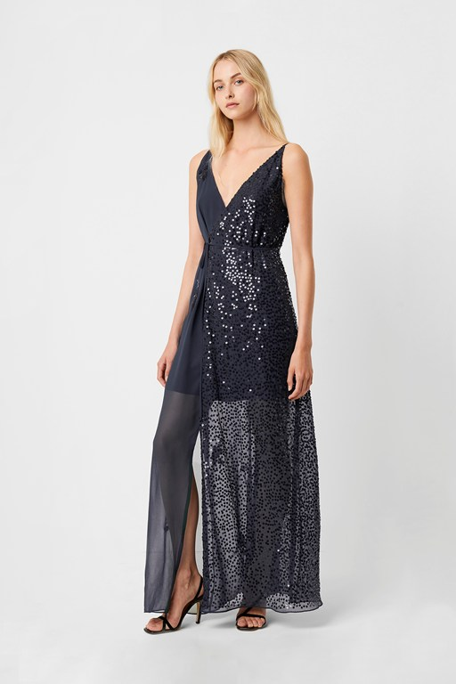 aurora sequin embellished v neck dress