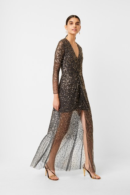 Emille Sequin Plunge Maxi Dress