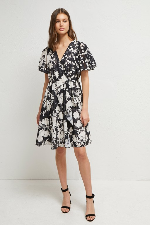 bamba devore floral v neck dress