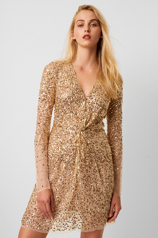emille sequin plunge dress