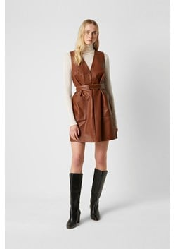 Abri Leather V Neck Dress