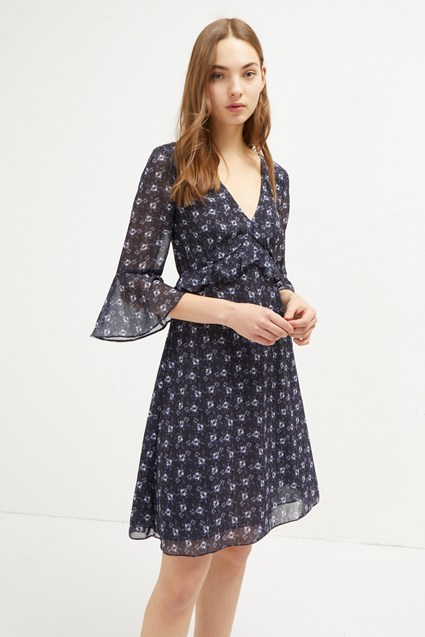 Agata Georgette V Neck Floral Dress