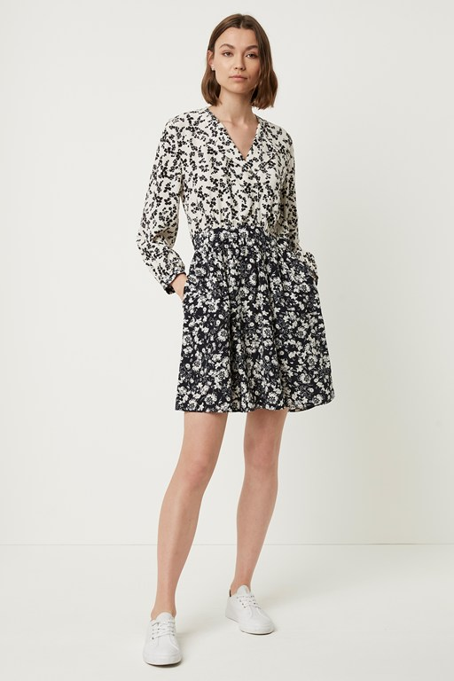 delfina drape floral dress