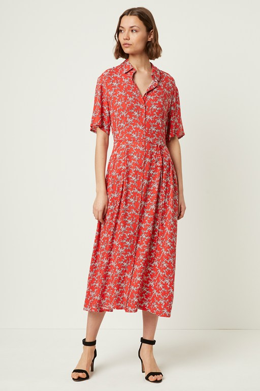 cerisier floral short sleeve shirt dress