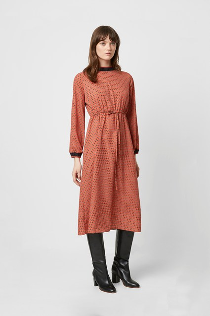 Caprice Long Sleeve Drawcord Waist Dress