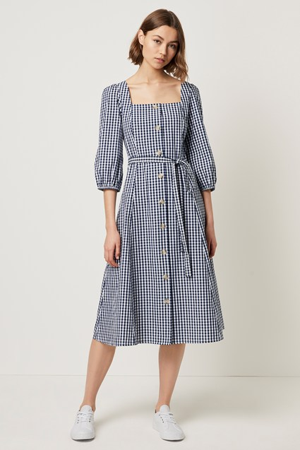 LAVANDE GINGHAM SQUARE NECK BUTTON DRESS