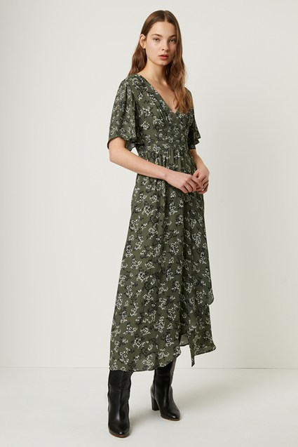 Ansa Crepe Mix Print Maxi Dress