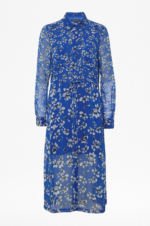 fio drape floral midi shirt dress