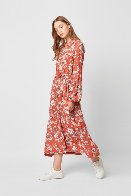 Aletta Crepe Floral Midi Shirt Dress
