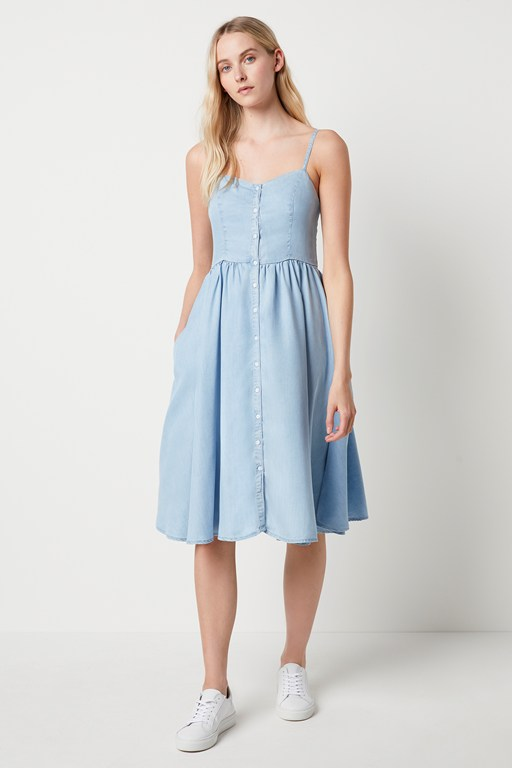 julienne lyocell button through dress